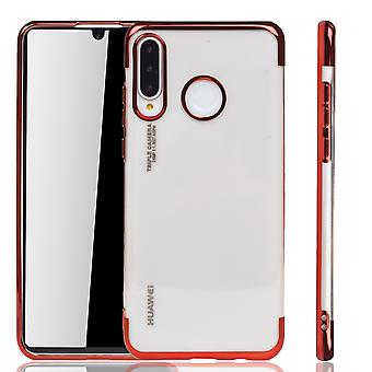 Handyhülle für Huawei P30 Lite Rot - Clear - TPU Silikon Case Backcover Schutzhülle in Transparent   Rot