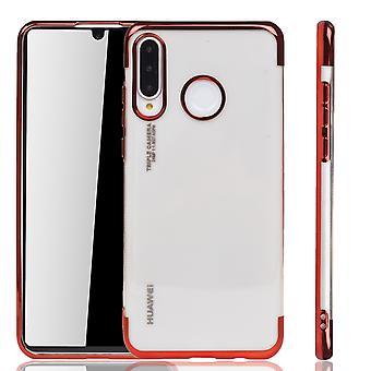 מקרה טלפון עבור Huawei P30 לייט אדום - ברור - TPU סיליקון מקרה גב מקרה מגן באדום שקוף