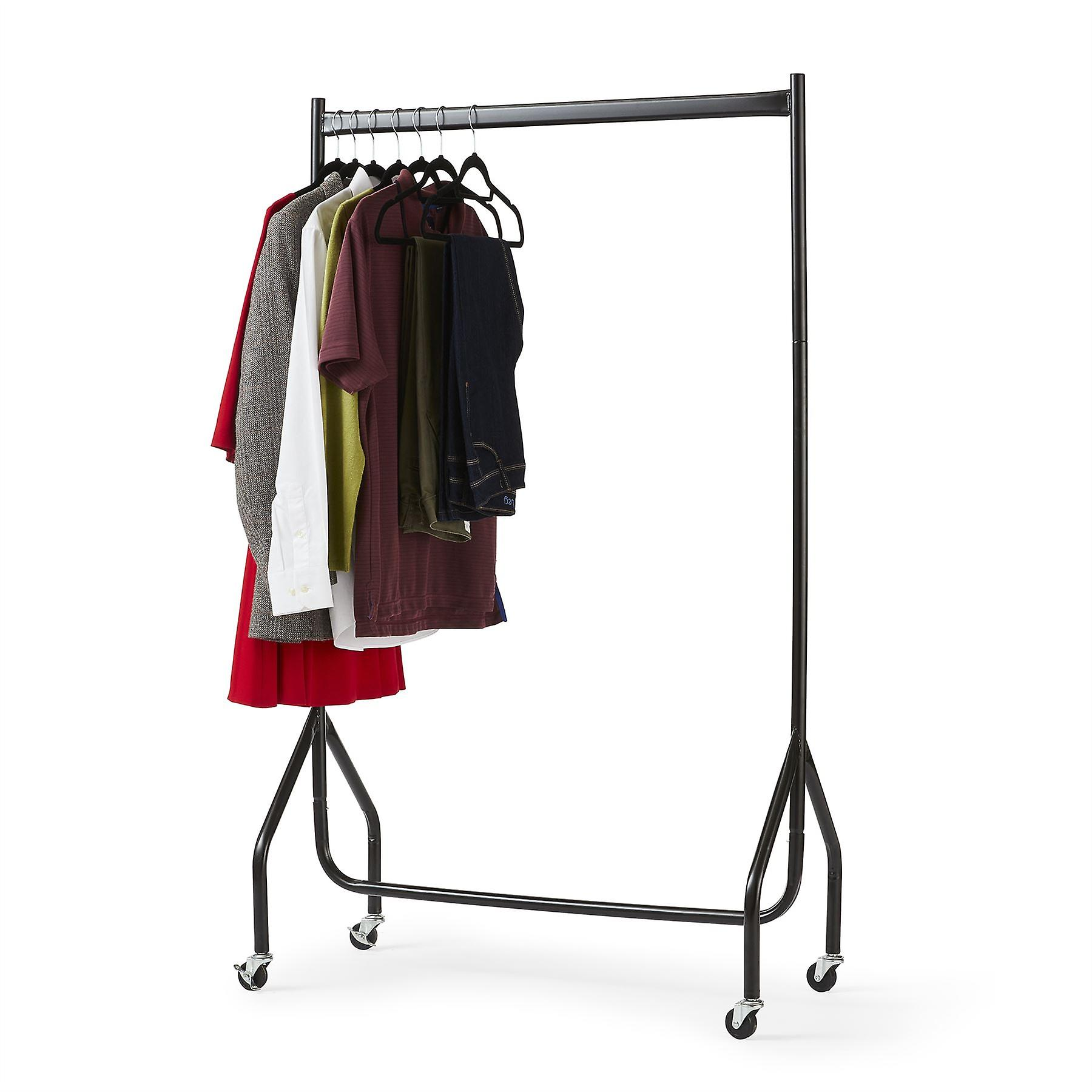 3ft Long x 5ft High Quality Heavy Duty Clothes Rail In Black Metal Construction