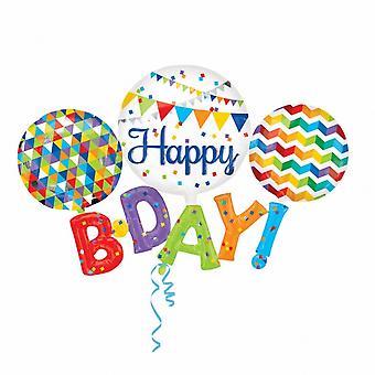 Amscan tillykke med fødselsdagen Supershape folie ballon