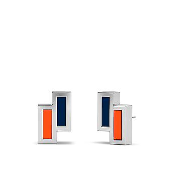 Edmonton Oilers Sterling Silver Asymmetric Enamel Stud Earrings In Blue & Orange