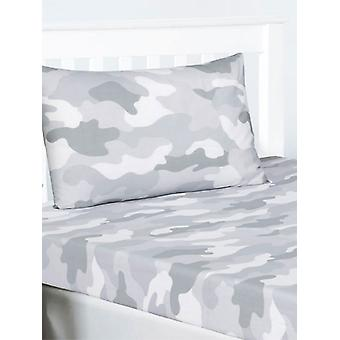 Grijze Leger Camouflage Single Fitted Sheet en Pillowcase Set