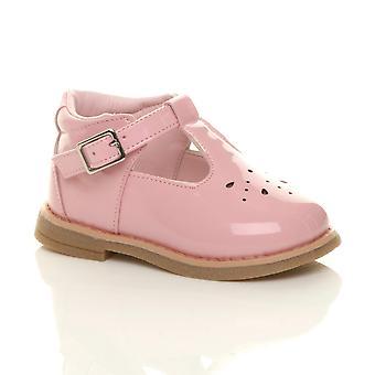 Ajvani Girls barn spädbarn småbarn låg klack läder t-bar flexibla fest skor