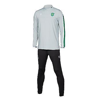 2019-2020 Sporting Lissabon macron spelare träningsoverall (grå)