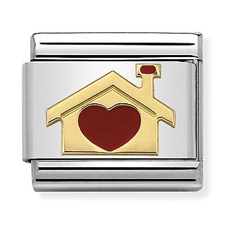 Nomination Classic Home with Heart Steel, Enamel and 18k Gold Link Charm 030283/07