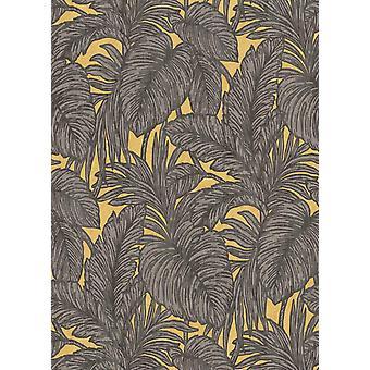 Brown Palm Leaf Glitter Wallpaper Yellow Floral Paste The Wall Vinyl Erismann