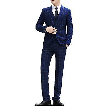 Allthemen Uomo Plaid Suit 3 Pezzi (Blazer - Pantaloni , gilet)