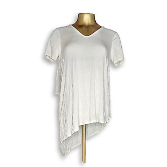 Lisa Rinna collectie vrouwen ' s top V-hals w/chiffon ivoor A303168