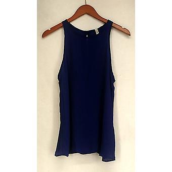 Lyss Loo Back Button Back Exposure Sleeveless Tank Top Royal Blue