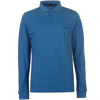 Pierre Cardin Mens Plain Long Sleeve Polo Shirt Top Cotton Regular Fit Fold Over