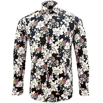 Guide London Colourful Bird On White Flower Print Pure Cotton Long Sleeve Mens Shirt