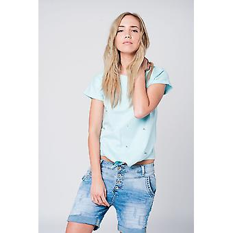 Blue t-shirt with strass details