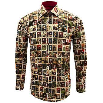 كلاوديو Lugli خمر الملاكمين طباعة طويلة الأكمام نقية القطن الرجال قميص