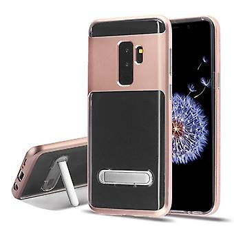 Rose Gold/Transparent Clear Hybrid Protector Cover (w/ Magnetic Stand) for Galaxy S9 Plus