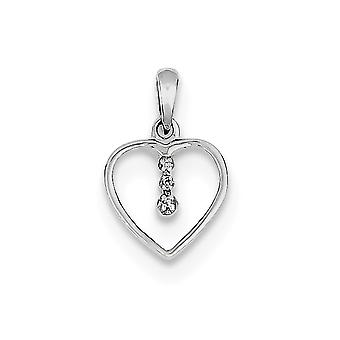925 Sterling Silver Polished Rhodium plated Rhodium Love Heart Pendant Necklace Jewelry Gifts for Women