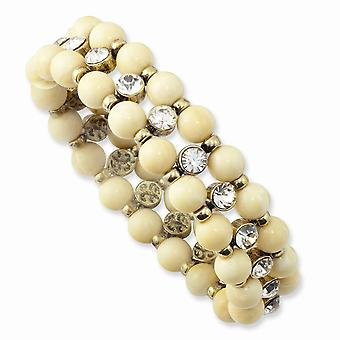 Brass tone Cream Acrylic Beads and Clear Glass Stone Stretch Bracelet Jewelry Gifts for Women