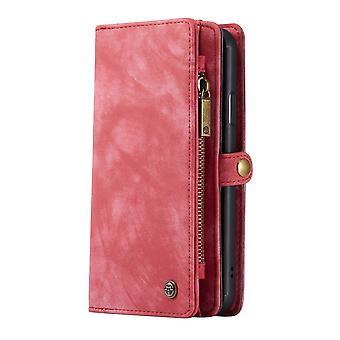 CASEME iPhone 11 Pro Retro Split Leather wallet Case-red