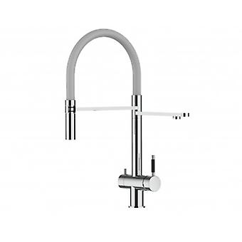 3way Kitchen Filter Mixer 100% Stainless Steel 360° Turn, Movable Spout 2 Jets Removable Spray Polished Finish - Grey - 421