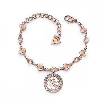 Guess Jewellery Guess Rose Gold Hearts Chain Encrusted Logo Charm Bracelet UBB78018-L