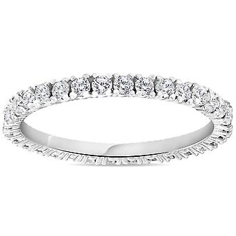 5/8 cttw الماس الخلود خاتم النساء قابلة للتكديس جولة 14k الذهب الأبيض باند