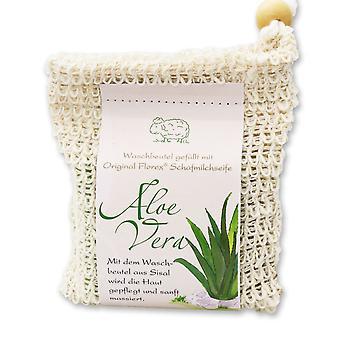 Florex Cold geroerd schapenmelk zeep-Aloë Vera-in een waszak gemaakt van sisal bijzonder vochtinbrengende 150 g