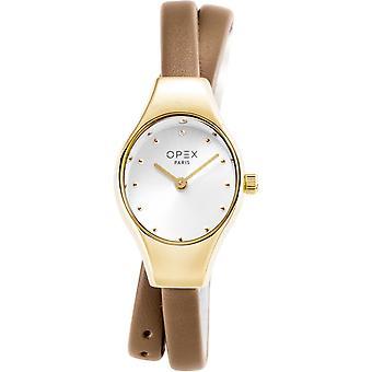 Opex OPW020 Watch - FILANTE Leather Bracelet Grey Wood Steel Dor Women