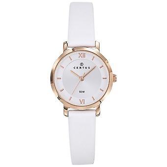 Montre Certus 646247 - Bo�tier Acier Dor� rose Rond Bracelet Cuir Blanc  Femme