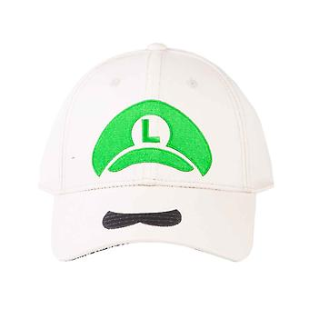 Super Mario Baseball Cap Luigi Icon Logo new Official Nintendo White Snapback