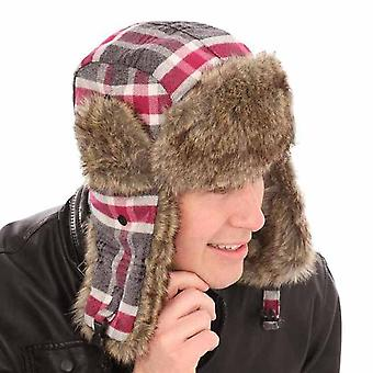 New Mens Womens Fur Plaid Check Trapper Warm Winter Thermal Hat A821