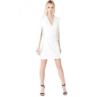 豪華なアリスオフホワイトラップスプリットスリーブミニドレス