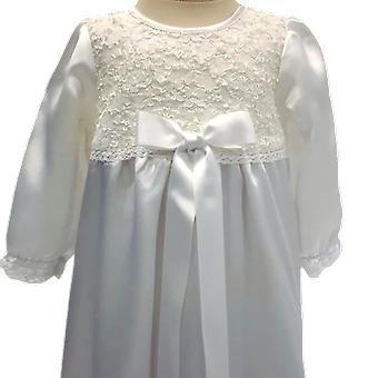洗礼ドレスIオフホワイト長袖、ホワイトワイドボウ