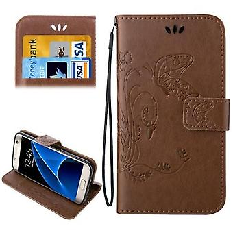 Pour Samsung Galaxy S7 Portefeuille Case,Elegant Horse Leather Protective Cover,Brown