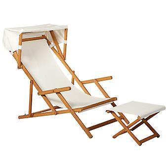 Sun Deckchair w/ Canopy Footstool Set Wood Frame Sling Seat Adjustable Back Weather Protection Relaxation Outdoor Garden Patio Balcony Park Tea Cream White