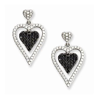 925 Sterling Silver Rhodium plated and CZ Cubic Zirconia Simulated Diamond Brilliant Embers Love Heart Dangle Post Earri