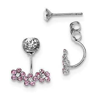 13mm 925 Sterling Silver Rhodium plated Clear Pink Crystal Front and Back Earrings Jewelry Gifts for Women