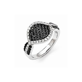925 Sterling Silver Pave Black Rhodium plated and CZ Cubic Zirconia Simulated Diamond Brilliant Embers Ring Size 7 Jewel