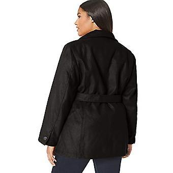 Details Women's Plus Size Faux Wool Fashion Jacket, Black, 2X