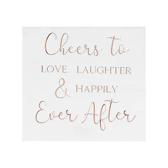 Rose Gold Happily Ever After Paper Wedding Party Napkins x 16