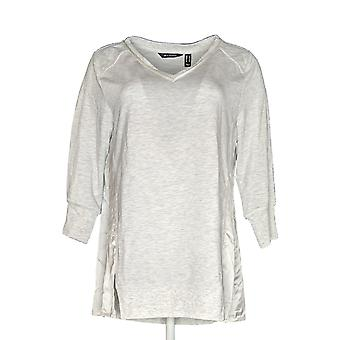 H by Halston Women's Top Mixed Media French Terry Gray A350388