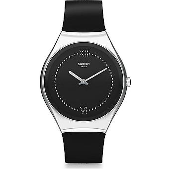 Swatch Watches Syxs109 Skinalliage Silver & Black Rubber Watch