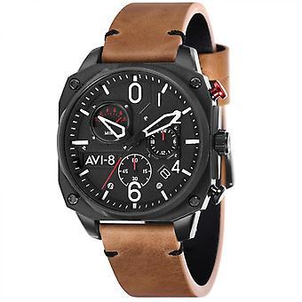 Watch Avi-8 AV-4052-02 - Hawker Hunter black man steel case Brown leather