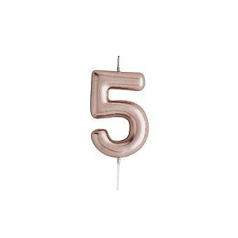 Rose Gold Birthday Party Candle, Number 5 Rose Gold Candle