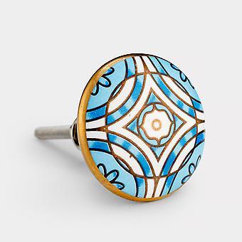 Perilla de puerta de cerámica - azul / blanco / oro