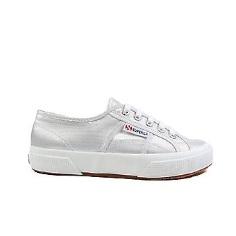 Superga Micro Lame W Silver Canvas Womens Lace Up Sneakers
