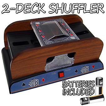 2 kannen puinen Deluxe-kortti Shuffler w/paristot