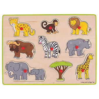 Bigjigs Toys Wooden Chunky Lift Out Jigsaw Puzzle (Safari) Educational Learn
