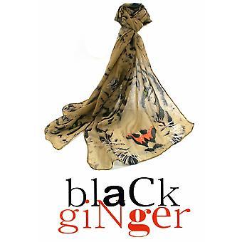 Black Ginger Gold Scarf with Tiger Face Design