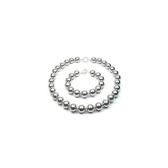 Kvinde halskæde og armbånd sæt perler 12 mm grå SSS og sølv 925/1000
