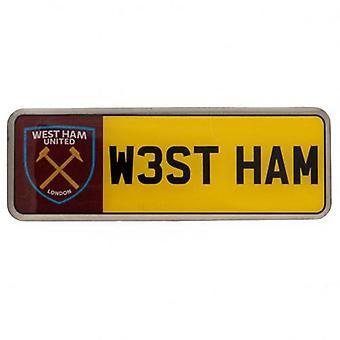 West Ham United Number Plate Badge