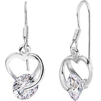 Oorbellen hart 925 sterling zilver 2 cubic Zirkonia oorbellen zilveren oorbellen